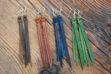 Top view of Braided Leather Fringe Earrings shown in four colors: Espresso, English Tan, Midnight and Emerald