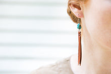 Turquoise & Leather Fringe Earrings shown on model.