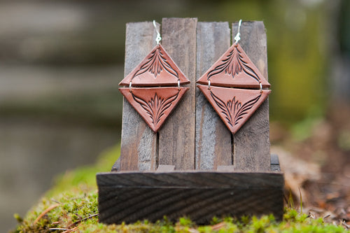Diamond-shaped hand cut and carved leather earrings