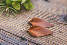Large Leather Petal Earrings shown in English Tan
