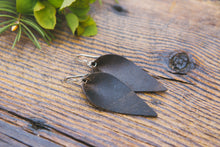 Large Leather Petal Earrings shown in Espresso