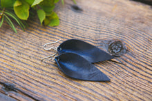 Large Leather Petal Earrings shown in Midnight