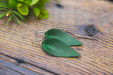Large Leather Petal Earrings shown in Emerald