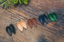 Small Leather Petal Earrings shown in five colors: Espresso, Natural, English Tan, Midnight & Emerald