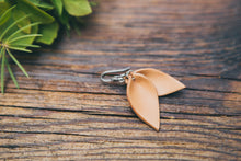 Small Leather Petal Earrings shown in Natural
