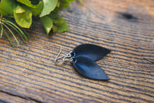 Small Leather Petal Earrings shown in Midnight
