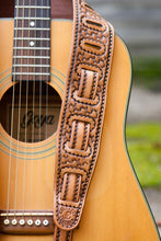 Detail of nine-slot adjustment on Basket Stamp Guitar Strap