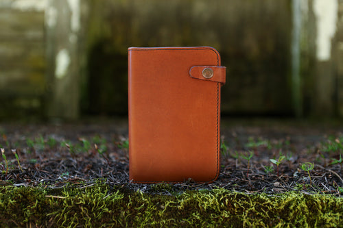 Handcrafted leather journal in chestnut