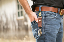 Man with leather key fob snapped on his belt loop using trigger snap