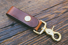 Mahogany leather key fob with solid brass trigger snap