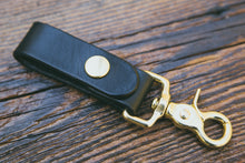 Black leather key fob with solid brass trigger snap