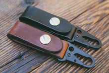 Mahogany and black leather key fobs with HK clip