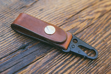 Handcrafted mahogany leather key fob with HK clip