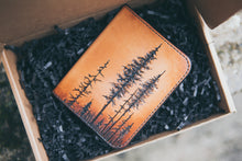 Six Pocket Lodgepole Pine Forest wallet laying in box