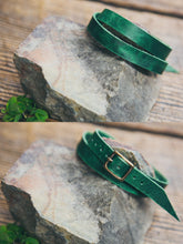 Front and back view of solid leather wrap bracelet in Emerald.