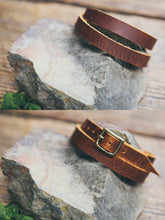 Front and back view of solid leather wrap bracelet in English Tan.