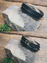 Front and back view of solid leather wrap bracelet in Espresso.