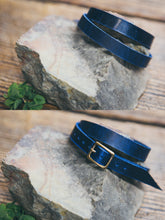 Front and back view of solid leather wrap bracelet in Midnight.