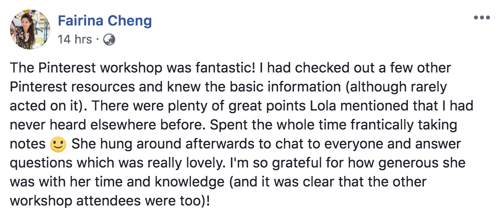 Customer Testimonial for Pinterest Essentials Workshop | Pin2Win by Lola Mack