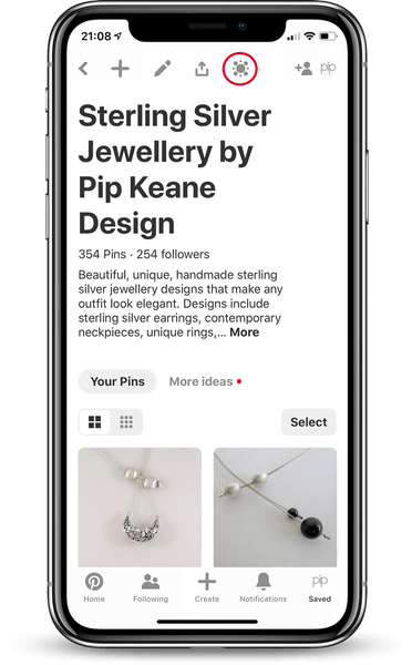 Pinterest Board on Mobile With Pincode Icon Highlighted