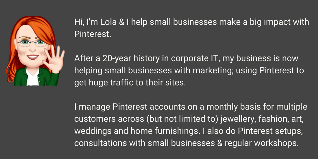 Who is Lola Mack? Pinterest specialist, Pinterest marketer, Pinterest consultant and Pinterest workshop facilitator