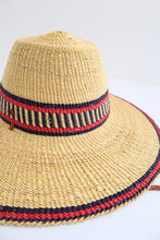 Handwoven Sun Hat - Red/Navy Detail