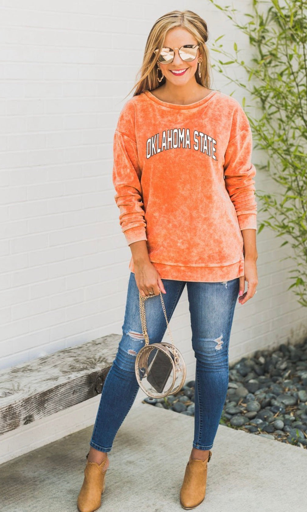 Now and Zen Gameday Bleached Pullover Sweatshirt