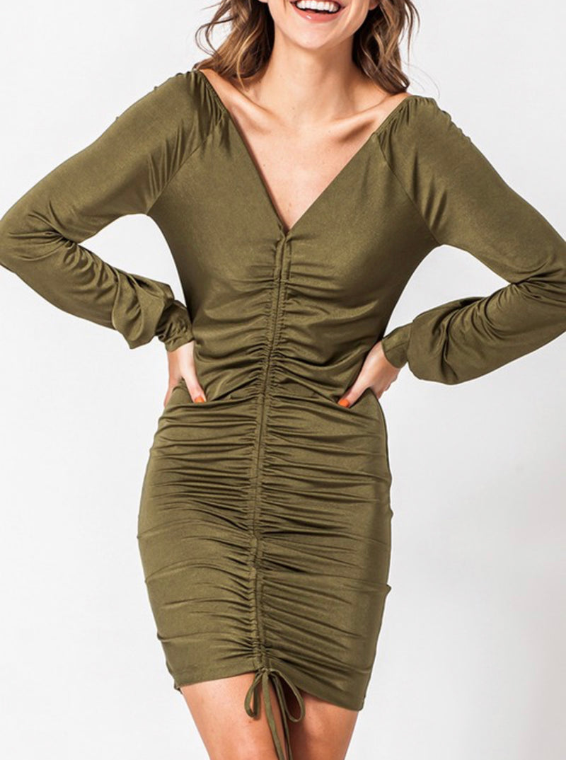 Evergreen Ruched Dress