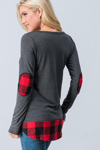 Charcoal Plaid Elbow Patch Top