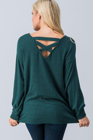 Green Long Sleeve Criss Cross Top