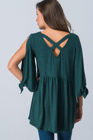 Green Cold Shoulder Criss Cross Back Top