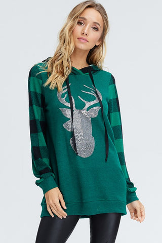 Green Plaid Reindeer Hoodie Top