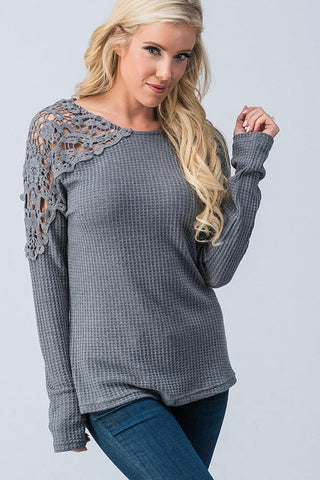 Grey Thermal Lace Shoulder Top