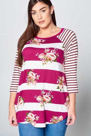 Magenta Striped Floral PLUS Size Top