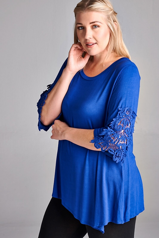 Royal Blue Crochet Solid Plus Size Top