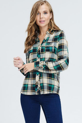 Jade Button Down Plaid Top