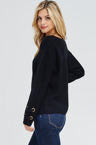 Black Rivet Sleeve Sweater Top