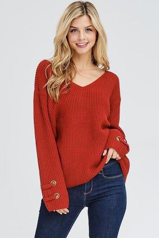 Red Rivet Sleeve Sweater Top