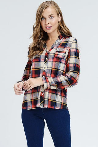 Red Button Down Plaid Top