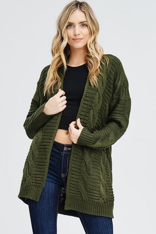 Green Chunky Knit Open Cardigan Sweater
