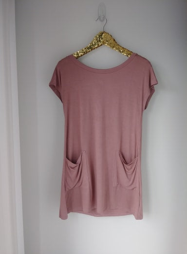 Mauve Back Button Pocket Top