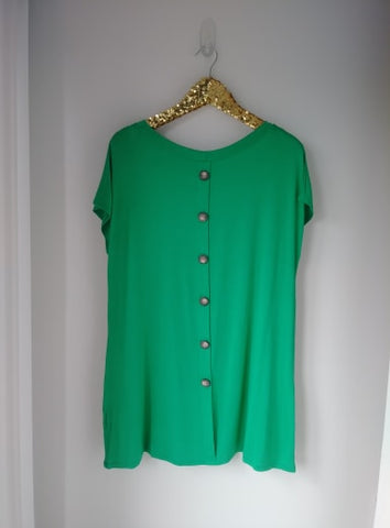 Kelly Green Back Button Pocket PLUS SIZE Top