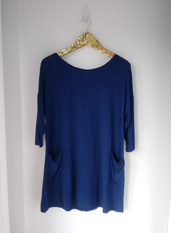 Navy Blue Back Button Pocket PLUS SIZE Top