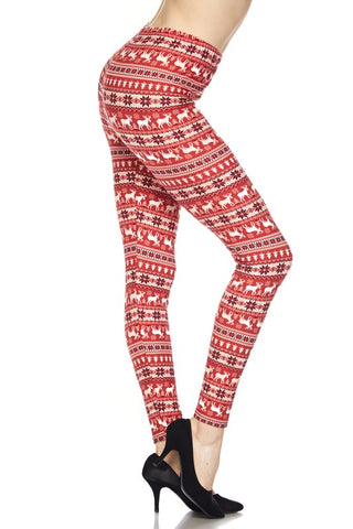 Red Holiday Leggings- Regular & Curvy
