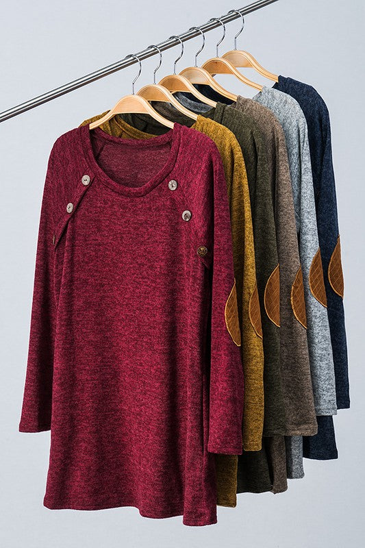 Sweater Knit Elbow Patch Tunic Top