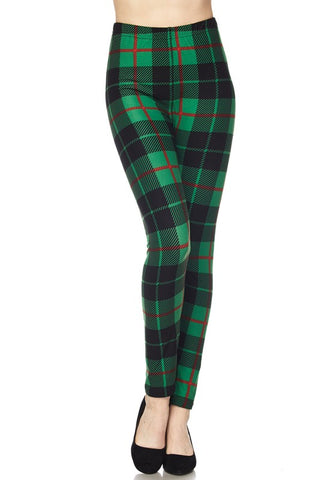 Green Plaid Holiday Leggings- Regular & Curvy