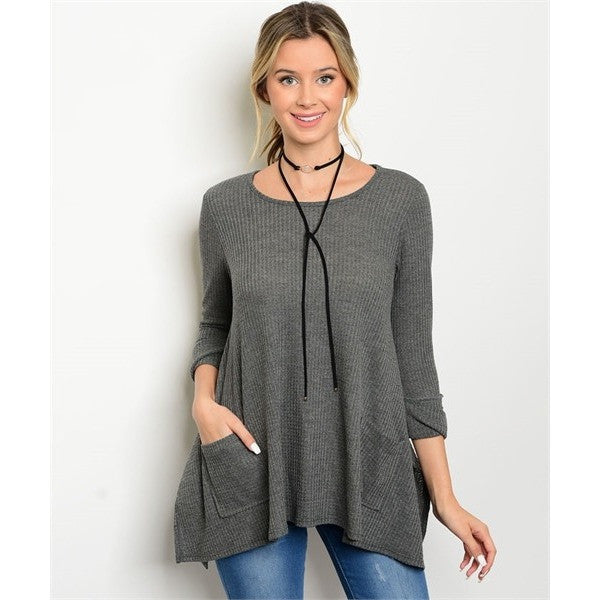 Dark Grey Slub Knit Pocket Top