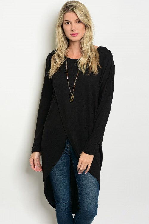 Criss Cross Black Sweater Top