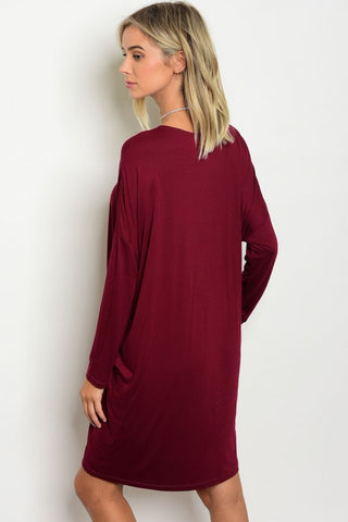 Burgundy Black Trendy Neck Dress