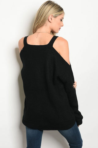 Black Chunky Knit Cold Shoulder Boutique Top, Back